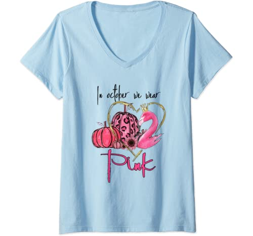 Womens Breast Cancer Awareness   In October We Wear Pink Flamingo V Neck T Shirt