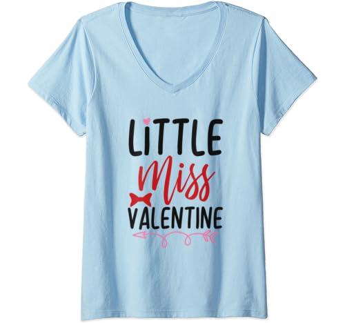 Womens Valentines Day Funny Gift For Girls, Little Miss Valentine V Neck T Shirt