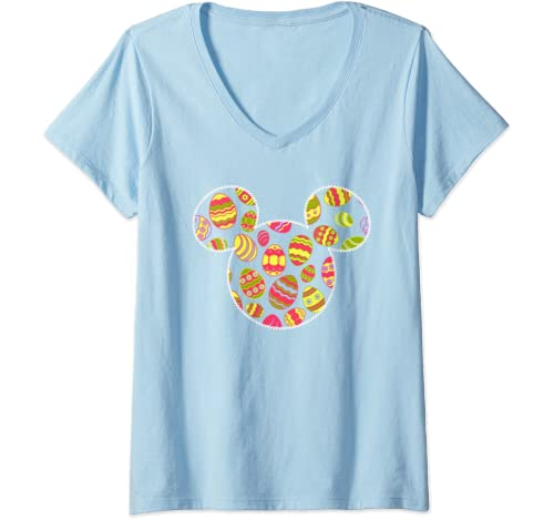 Womens Disney Mickey And Friends Mickey Mouse Easter Egg Fill V Neck T Shirt