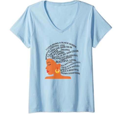 Womens I Love Being A Black Queen   Black History Month V Neck T Shirt