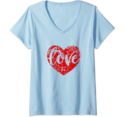 Womens Cute Cursive Love Valentines Day Gift Distressed Heart Red V Neck T Shirt