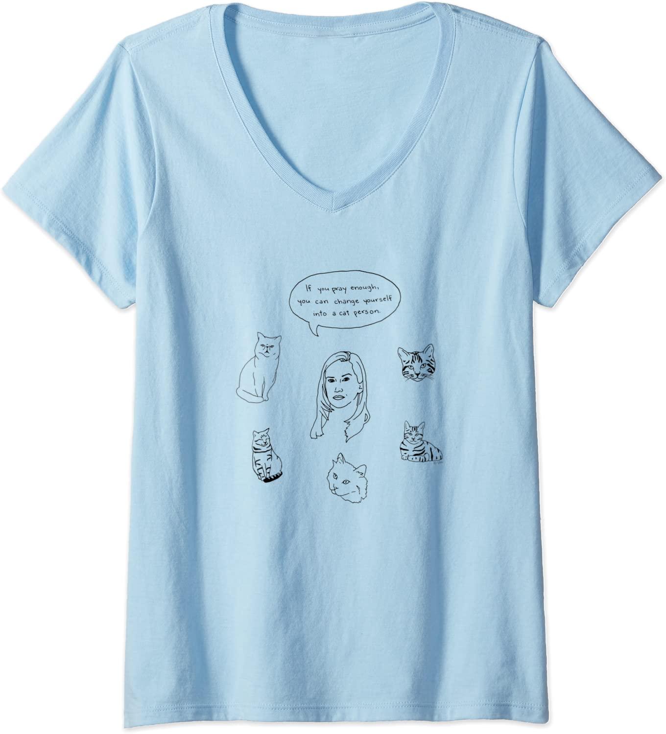 Womens The Office Angela Cat Person V-Neck T-Shirt