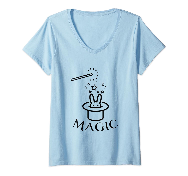 Rabbit In Magic Hat With Magic Wand T Shirt Magician Gift T Shirt