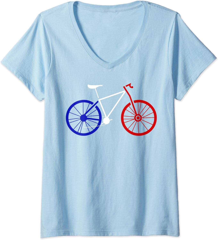 T-Shirt avec Col en V Femme V/élo tricolore bike cycliste france