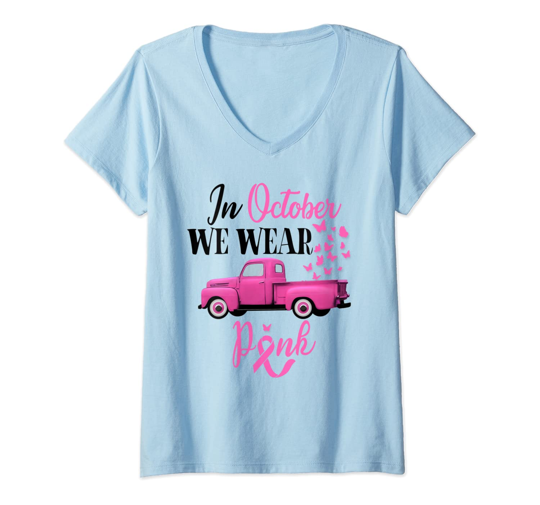 October Breast Cancer Awareness Month Pumpkin Vintage Truck T Shirt
