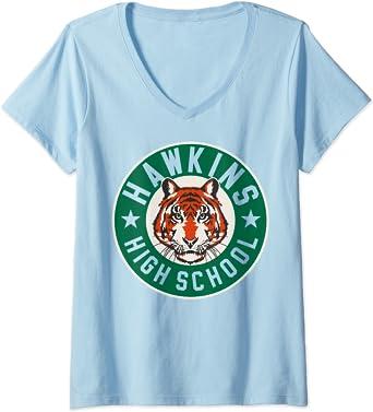Femme Netflix Stranger Things Hawkins High School Logo T-Shirt avec Col en V