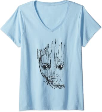 Femme Marvel Guardians Vol. 2 Groot Lines Face T-Shirt avec Col en V