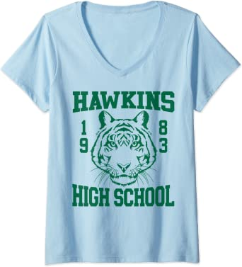 Femme Netflix Stranger Things Hawkins High School 1983 T-Shirt avec Col en V