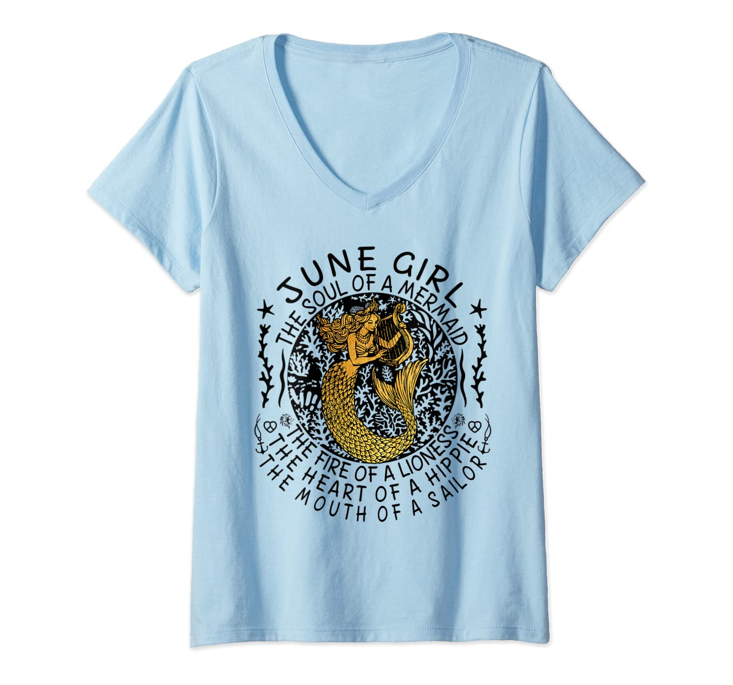June Girl The Soul Of A Mermaid Tshirt Funny Gifts T Shirt