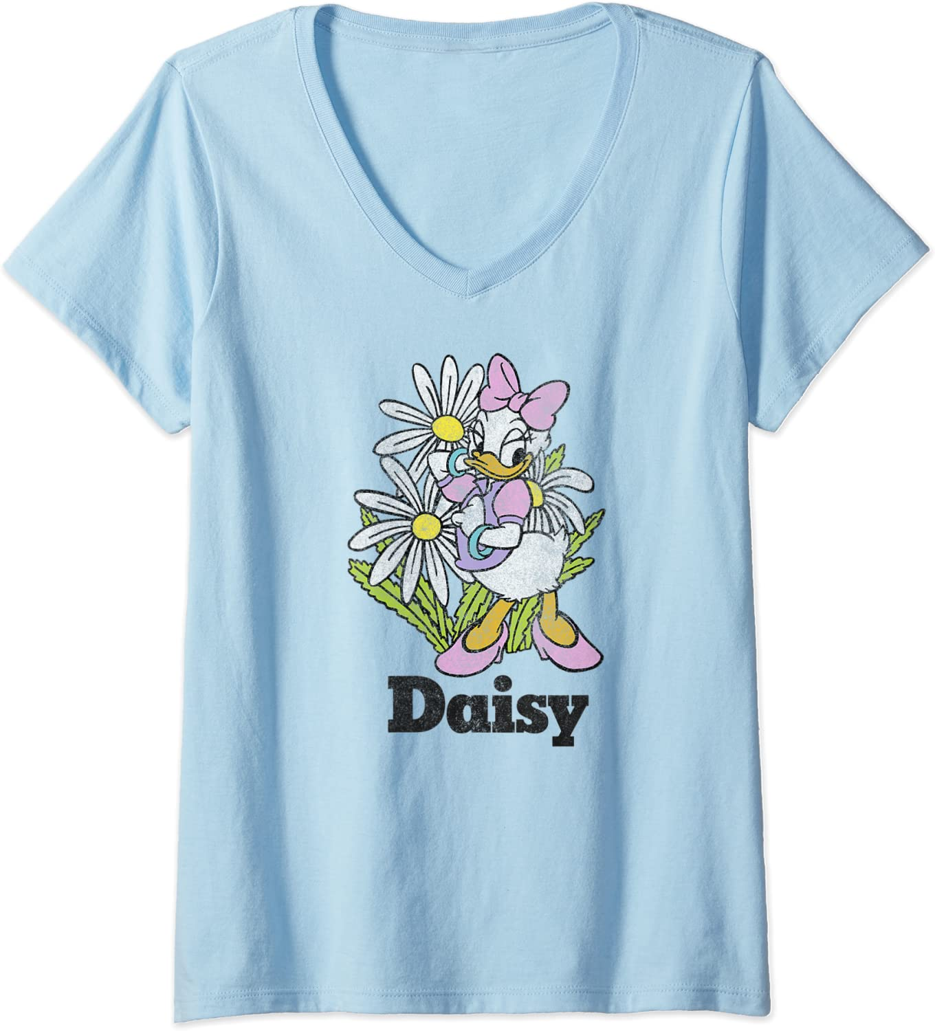 Womens Disney Mickey And Friends Daisy Duck Floral Portrait V-Neck T-Shirt