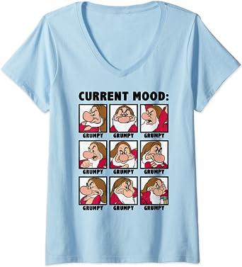 Femme Disney Snow White Current Mood Always Grumpy T-Shirt avec Col en V