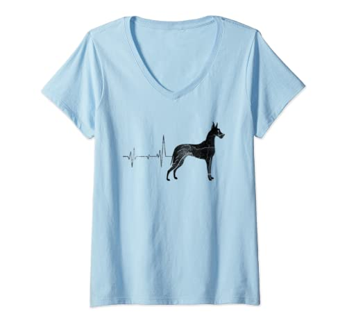 Womens Vintage Retro Distressed Heartbeat Great Dane Dog Lover Gift V Neck T Shirt