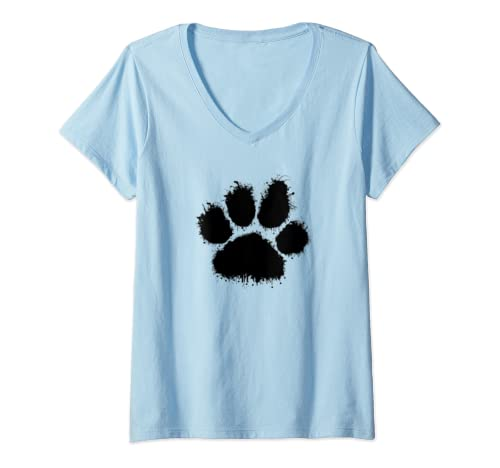 Womens Cute Black White Paw Print Paint Splash Pet Dog Cat Gift Her V Neck T Shirt