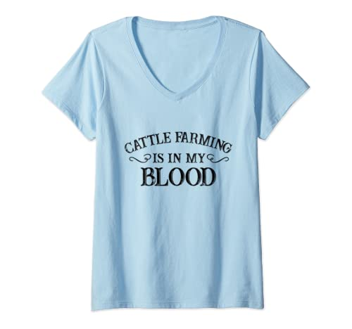 Womens Cattle Farming Is In My Blood V Neck T Shirt