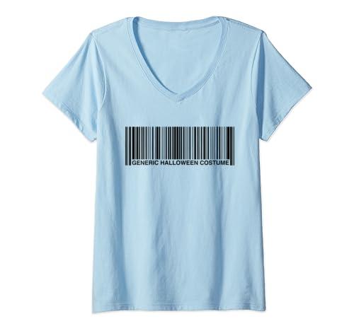 Womens Generic Halloween Costume Upc Barcode Funny V Neck T Shirt