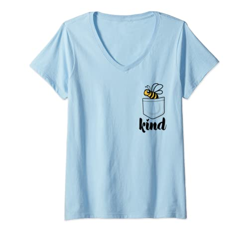 Womens In A World Where You Can Be Anything Be Kind   Bee Kind V Neck T Shirt