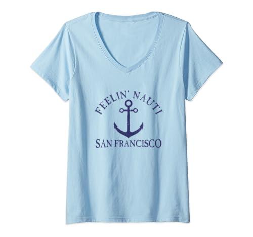 Womens Feelin' Nauti San Francisco Nautical Distressed V Neck T Shirt