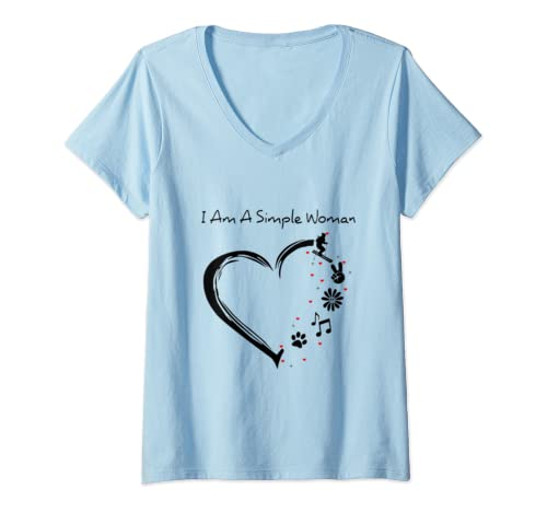 Womens Womens I Am A Simple Woman Skiing Flower Music Dog Paw Funny V Neck T Shirt