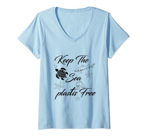 Womens Keep The Sea Plastic Free Turtle V Neck T Shirt