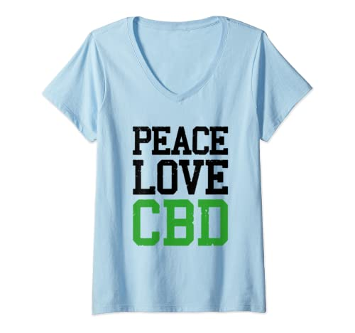 Womens Peace, Love And Cbd Oil Vintage V Neck T Shirt