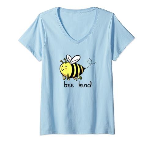 Womens Bee Kind   Kindness Gift For Men Women Vintage Be Kind V Neck T Shirt