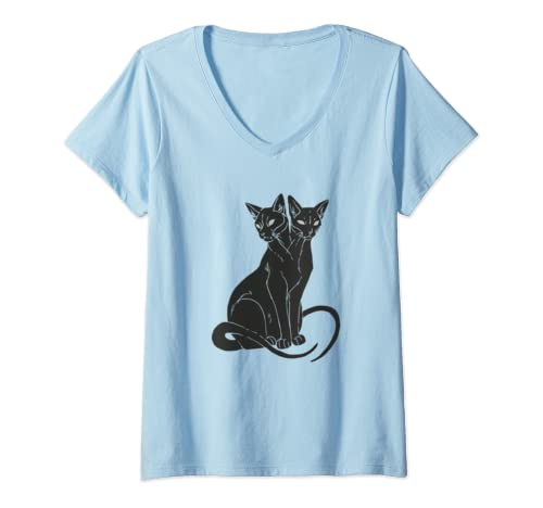 Womens Black Cat Halloween Customers Black Cat The Witch Halloween V Neck T Shirt