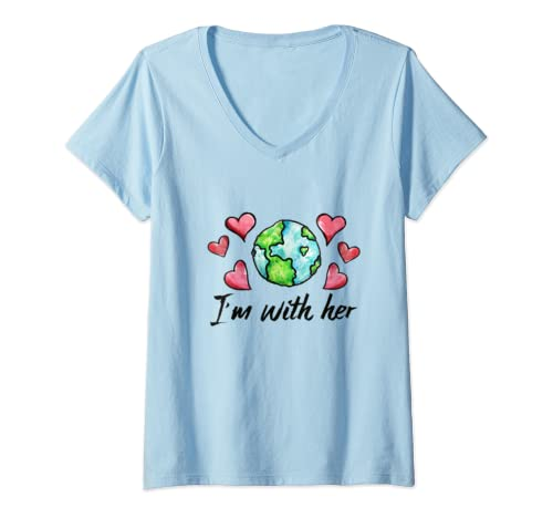 Womens I'm With Her Climate Strike Earth Day  V Neck T Shirt