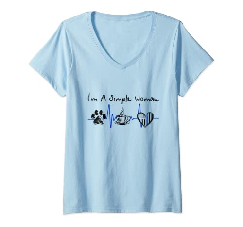 Womens Womens I'm A Simple Woman Dog Paw Heartbest Coffee  V Neck T Shirt