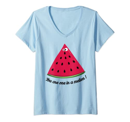 Womens One In A Melon Funny V Neck T Shirt