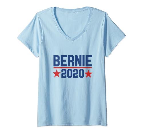 Womens Bernie 2020 Vote For Bernie Sanders Dump Trump  V Neck T Shirt