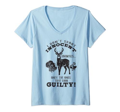 Womens Deer, Turkey, Duck Hunter I Don't Shoot Innocent Animals V Neck T Shirt