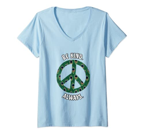 Womens Be Kind Always Peace Sign Spread Kindness  V Neck T Shirt