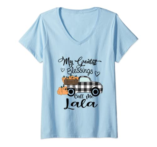Womens My Greatest Blessings Call Me Lala   Autumn Gifts V Neck T Shirt
