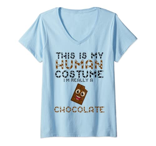 Womens Cool This Is My Human Costume I'm Really A Smiley Chocolate V Neck T Shirt