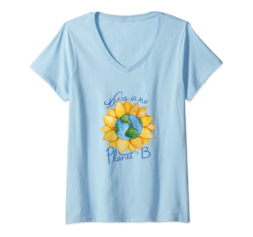 Womens There Is No Planet B Earth Day  V Neck T Shirt