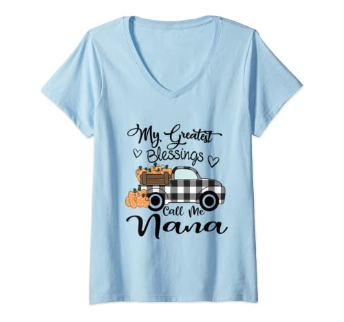 Womens My Greatest Blessings Call Me Na Na   Autumn Gifts V Neck T Shirt