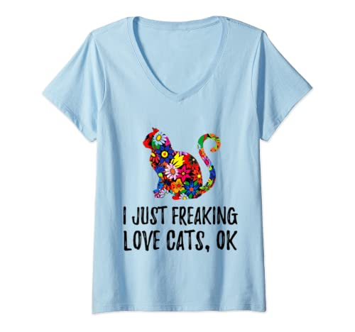 Womens I Just Freaking Love Cats V Neck T Shirt