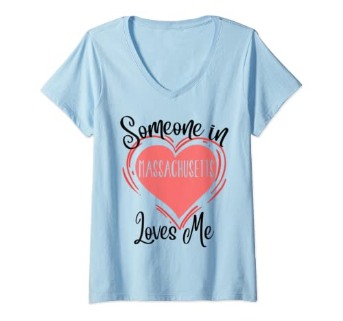 Womens Someone In Massachusetts Loves Me,Precious Gift State Ma V Neck T Shirt