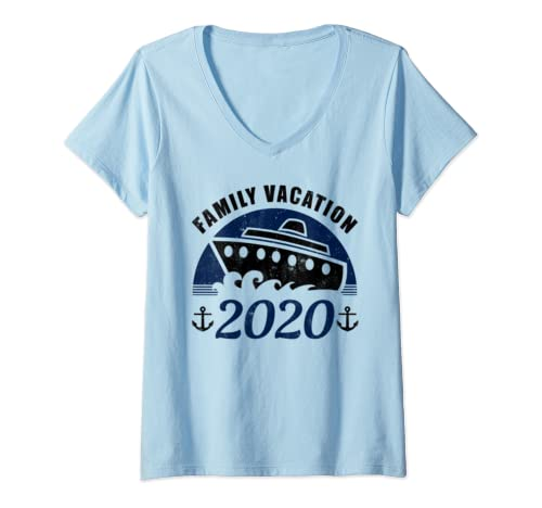 Womens Family Cruise Vacation 2020 Matching Vacation V Neck T Shirt