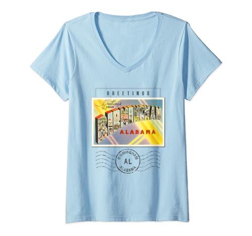 Womens Birmingham Alabama Al Travel Souvenir Gift Stamped Postcard V Neck T Shirt