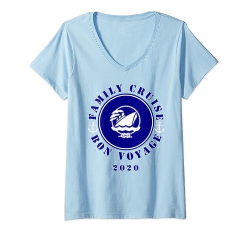 Womens Family Cruise Bon Voyage Nautical  V Neck T Shirt