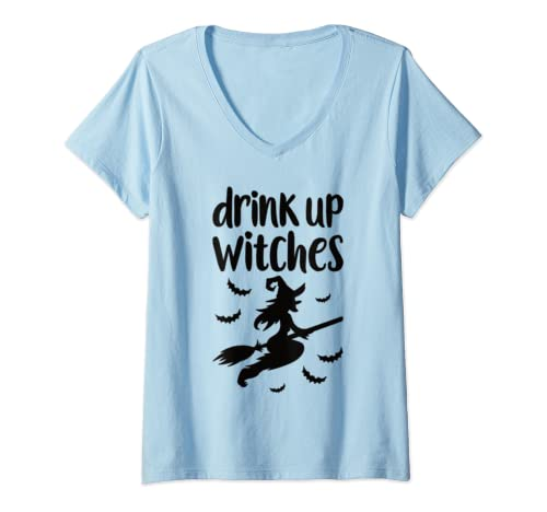 Womens Funny Halloween Costume   Drink Up Witches   Witch Halloween V Neck T Shirt