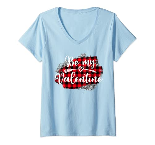 Womens Be My Valentine Fiancee Crush Valentine's Day Plaid Present V Neck T Shirt