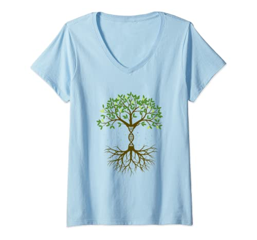 Womens Earth Day Dna Chromosome Double Helix V Neck T Shirt