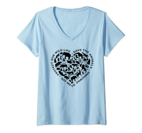 Womens World Animals Day Love Heart Graphic Icon Planet Earth Day V Neck T Shirt