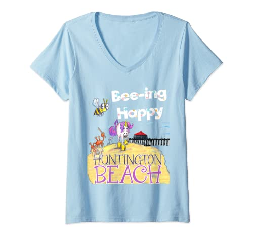 Womens Bee Ing Happy By Unicorn Jazz In Huntington Beach V Neck T Shirt