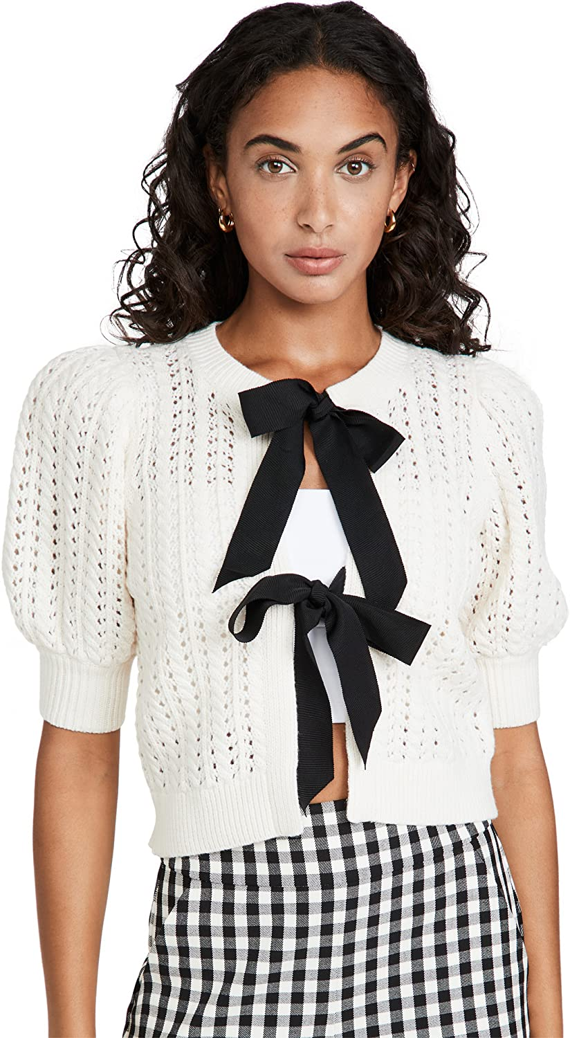 Alice + Olivia Women's Kitty Puff Sleeve Cardigan with Tie Bows