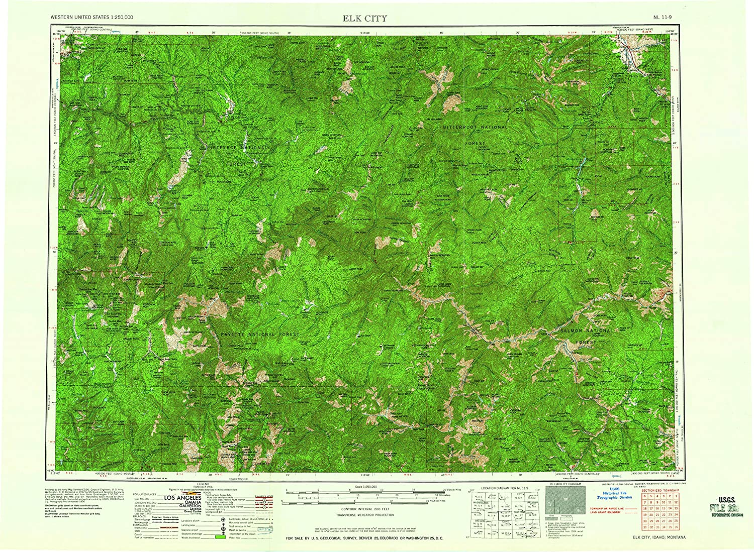 Elk City ID topo map, 1 250000 Scale, 1 X 2 Degree, Historical, 1960, 22.1 x 30.2 in