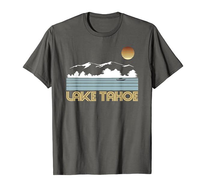 Amazon.com: Lago Tahoe Nevada Retro de playera ropa de esquí ...
