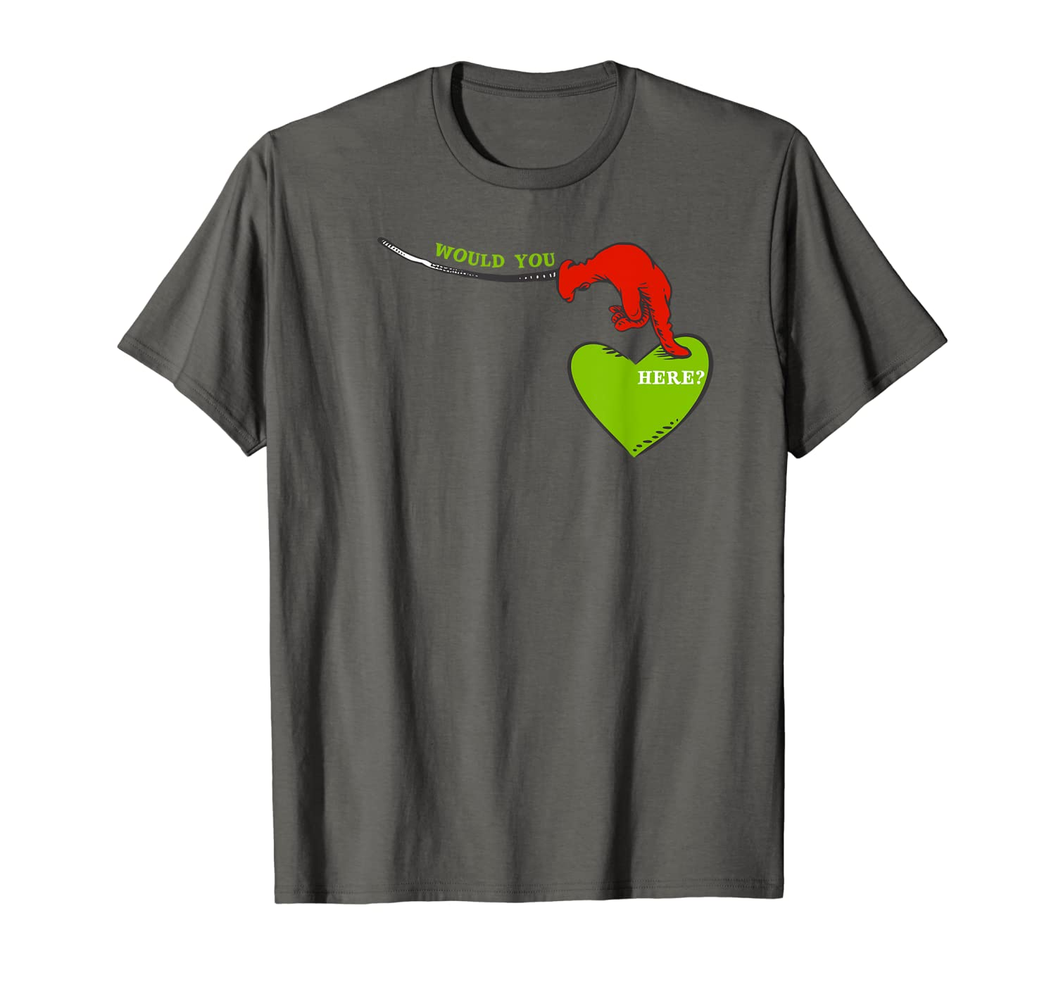 """Dr. Seuss Green Eggs and Ham """"Would You Here?"""" T-Shirt"""